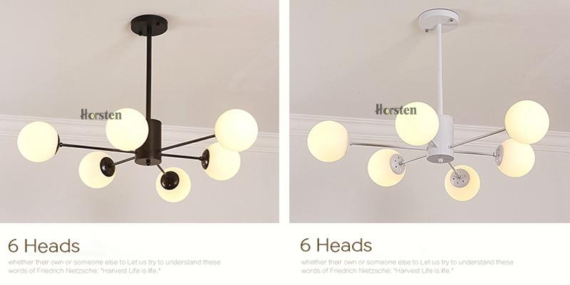 Horsten Nordic Creative Magic Bean Pendant Lights 6812 Heads Glass Ball Pendant Lamp For Living Dining Room Cafe Restaurant E27 (13)