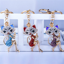 Grace Crown Lipstick Cat Lady Crystal Rhinestone HandBag Pendant Keyring Keychain Charm For Car Key Chain for Women Jewelry(China)