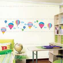 Hot air balloon DIY vinyl wall stickers for kids rooms children home decor sofa living wall decal child sticker wall paper(China)