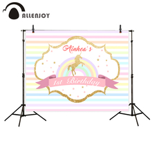 Allenjoy newborn photography background colorfulful Golden Unicorn Birthday theme backdrop photo studio camera fotografica