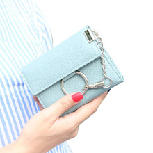 New Arrival PU Leather Metal Chains Lock Ladies Clutch Wallet Short Hasp Womens Card Holder Coin Purse Wallets Change Pursees