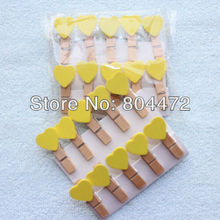 600 Yellow Valentine Love Heart Wooden Pegs Paperclips for Home Wedding Decor|Gift wrapping Packaging | any Craft projects 1243