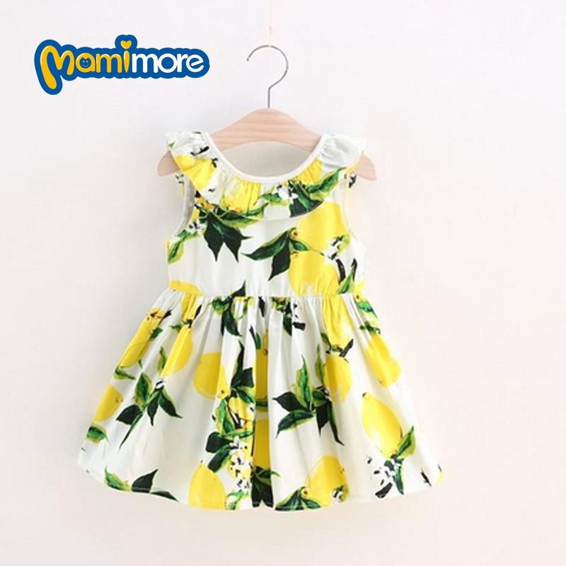 Fashion Fruit Print Girls Dress 2017 Summer New Child Clothes Girls Big Bow Dress Cotton Princess Dress Temperament Hot Sale<br><br>Aliexpress