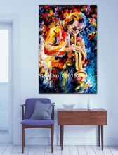 Palette Knife Painting Printed On Canvas Painting Wall Art Jazz Music Trumpet Saxophone Guita Picture Home Decoration