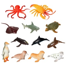 Brand New 12pcs/set Plastic Marine Animal Model Toy Figure Ocean Creatures Dolphin Kids Toy Best Model Gift For Children Kids