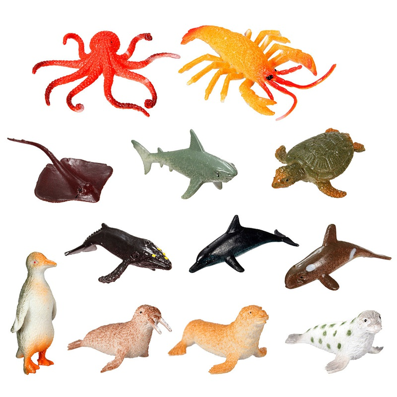 Brand New 12pcs/set Plastic Marine Animal Model Toy Figure Ocean Creatures Dolphin Kids Toy Best Model Gift For Children Kids(China)