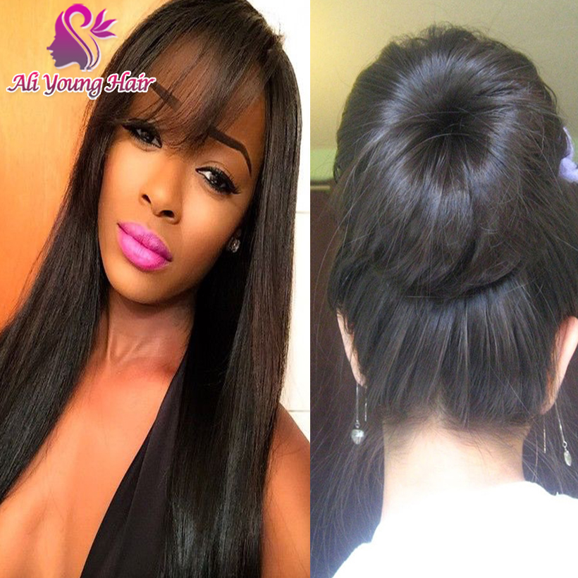 7A Brazilian Virgin Hair Full Lace Human Hair Wigs with Bangs Silky Straight Lace Front Wigs for Black Women whit Baby Hair<br><br>Aliexpress