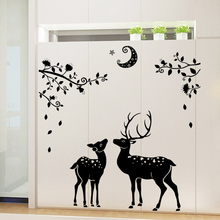 Wall Stickers Muraux DIY Christmas Deer Decoration for Home Decor Waterproof PVC Removable Window Glass Bathroom Decals Poster