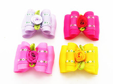 100PC/Lot Ribbon Dog Hair Bows Small Rose Flower Dog Bows Pet Accessories Groomings Supplies(China)