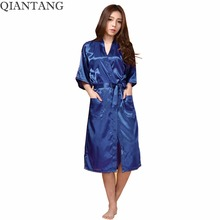 Plus Size Women's Long Robe Navy blue Chinese Lady Silk Satin Kimono Bath Gown Nightgown Pijama Mujer S M L XL XXL XXXL TB01M(China)