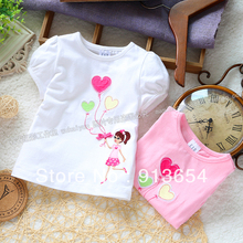 Free shipping Retail 2013 new fashion summer kids clothes Baby t-shirts for children short sleeve t shirt top girls pullover(China)