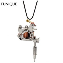 FUNIQUE New Hip Hop& Rock Leather Pendant Necklace Gunmetal Mini Tattoo Machine Necklace Jewelry For Women Men Gift Necklace New