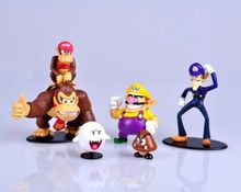 6pcs/sets Super Mario Bros Figures Donkey Kong Waluigi Wario Ghost Goomba Game Toy Hot Sale 2016