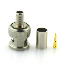 BNC Male crimp Connector Plug for RG59 coaxial Cable Coupler CCTV Adaptor