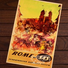Rome by SAS Airline Cuture Italy City Travel Vintage Retro Decorative Frame Poster DIY Wall Stickers Posters Home Bar Decor Gift