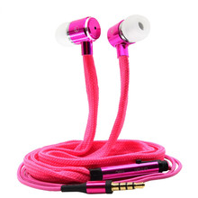 Jcell Shoelaces Ear Hook Stereo Metal Bass Head Earphone Headset Music Earpieces with Mic Remote Control for Cellphone