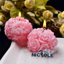 Nicole LZ0002 Flexible Easy Unmold 3D Rose Flower Ball Shaped Handmade Silicone Soap And Candle Mould DIY Candle Crafts Molds