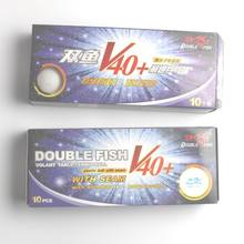 Original double fish V40+ no star table tennis ball ABS polymer material for table tennis racket game wholesale 20balls training