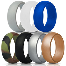 7 Colors/set Silicone Finger Ring Size 7-13 Flexible Hypoallergenic Crossfit Engagement Army Band Rubber Wedding Engagement Ring(China)
