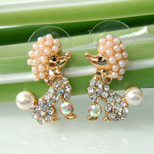 Navachi Pearl Yellow GP Dog Poodle Clear Crystal Earrings Ear Stud SMT2057(China)