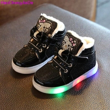 HaoChengJiaDe 2017 New Spring Autumn Winter Children's Sneakers Kids Shoe Chaussure Enfant Hello Kitty Girls Shoe With LED Light