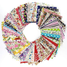 Random Thin Cotton Fabric Patchwork For Sewing Scrapbooking Fat Quarters Tissue Quilt Pattern Needlework Scraps 60pcs 10*10cm(China)