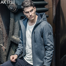AK CLUB Men Jacket Wool Blended Short Coat Hooded Urban Function Series Composite Woolen Fabric Men Brand Jacket Hooded 1641016(China)