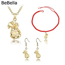 2016 gift for women Fashion lucky purse pendant jewelry set for women gift