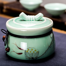 1 pcs Chinese style High-grade ceramic tea canister Gift Spice Jar Seasoning Can Kitchen Tool Salt Condiment Cruet Storage Box