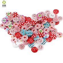 Shuan Shuo 15mm 2 Eyes Printed Flowers Round Wooden Buttons For Hat, Shoes, Clothes Diy Accessories Mixed Color 100PCS/Bag(Hong Kong)