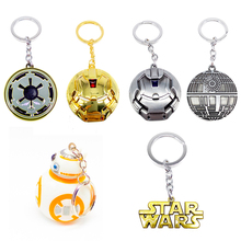 Metal Alloy Key Rings Keychain Action Figures Cute Droid BB8 R2D2 Key Ring The Force Awaknes Q Robert BB-8 Jewelry Promotion(China)