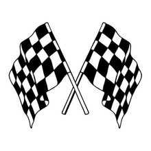 27.9*22.3CM About Golf Checkered Flag Car Stickers Fashion Styling Vinyl Car Decals Black/Silver C7-1277(China)