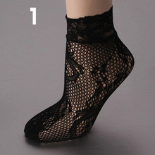 women summer sexy mesh silk socks for female ultrathin transparent nylon short socks with lace high elasticity(China)
