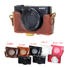 New Retro Vintage Pu Leather Camera Case Bag for Sony HX90 WX500 HX90V with Strap