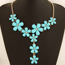 Fashion Bohemia Imitated Gemstone Jewelry Maxi Flower Statement Necklaces Pendants Choker Collier Necklace Women Accessories