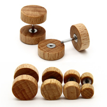 1pcs / 1pair Free Shipping New Men's Ear Studs Earrings Natural Wood Stainless Steel Anti-Allergic Body Piercing Jewelry Women(China)
