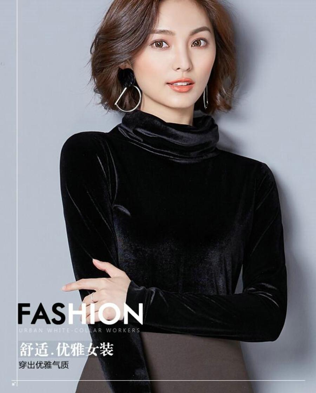 WANXIANGYUAN Women Long Sleeve Blouse 2017 Autumn Fashion Turtleneck Shirt Women Ladies Velvet Warm Blouses Shirts for Women 03