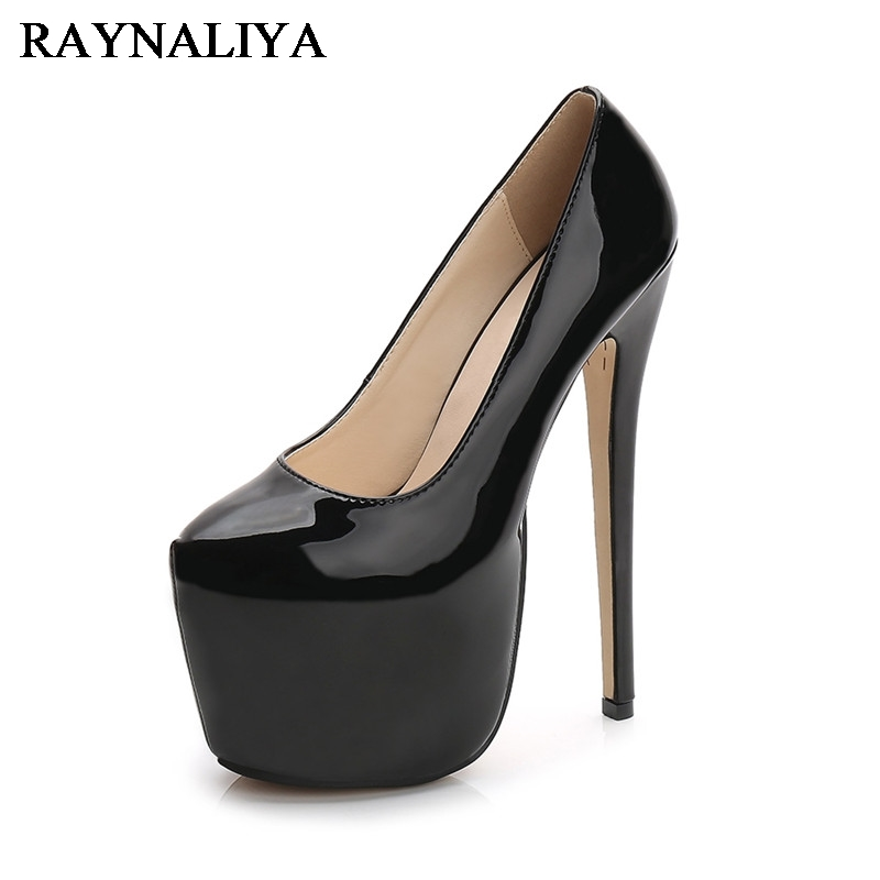 Classical Autumn 18cm High Heels Sexy Patent Leather NightClub Platform Pumps Women Party Wedding Shoes Plus Size WZ-B0008<br>