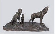 Arts Crafts Copper metal art Bronze Wolf sculptures bronze statue roaring hungry Wolves figurines Retro Artwork Office Decoratio