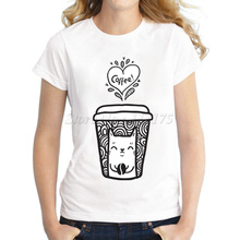 2017 Ladies Fashion doodle coffee and cat Design T shirt Novelty Tops Lady Custom Printed Short Sleeve Tees