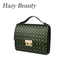 Hazy beauty New check hot design women handbag fashion neon color lady shoulder bag super chic girls cross body bag hot DH608