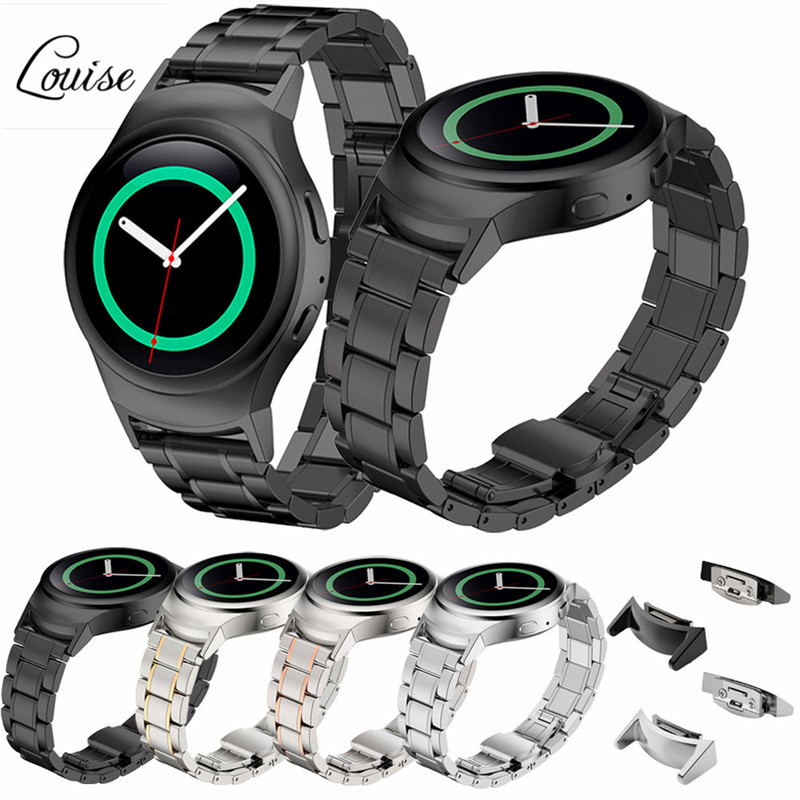 High Quality Black Gold Watchband Stainless Steel Watche Band + Connector For Samsung Gear S2 RM-720 Watch Accessories Louise<br><br>Aliexpress