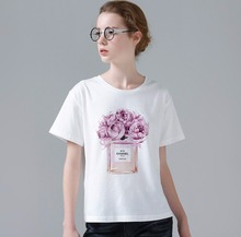 Cool Flowers And Perfume Design Women Summer Printed T Shirt Short Sleeve Slim Hot Sale Girl Female White Top Tee W767