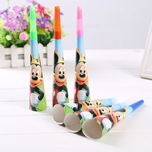 Cartoon Mickey mouse Party Kids Girls Birthday  horn Decoration Party  Festiva Trumpet Supplies Trumpet 6pcs