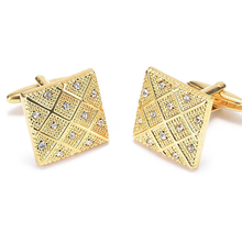 V.Ya Fine CZ Crystal Men Cufflinks Luxury Cool Business Button Cuff-links Yellow Gold Color Copper Cuff Links for Shirts XK46