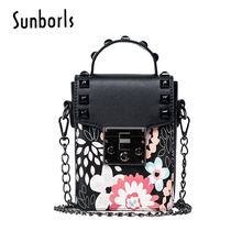 Cell phone mini bags for ladies printing lock women handbag chain shoulder Messenger bag high quality leather bag small 11V442(China)