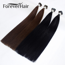 "FOREVER HAIR 0.8g/s 20"" Remy Double Drawn Flat Tip Human Hair Extension Straight Capsules Keratin Pre Bonded Hair Extension 80g(China)"