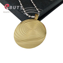 EBUTY Gold Stainless Steel Quantum Scalar Energy Pendant with Far Infrared/ Negative Ion /Germanium Stones, Free Shipping