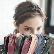 Women's Hairband New Leather Patchwork Wide Girls Headbands Twist Solid Color Knot Women Hair Bands Hair Accessories For Adult(China)