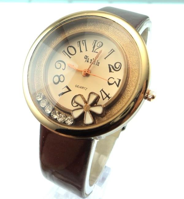 Popular Crystal leather Watch Women ladies fashion dress quartz wrist watch Clock Gift go001-2<br><br>Aliexpress